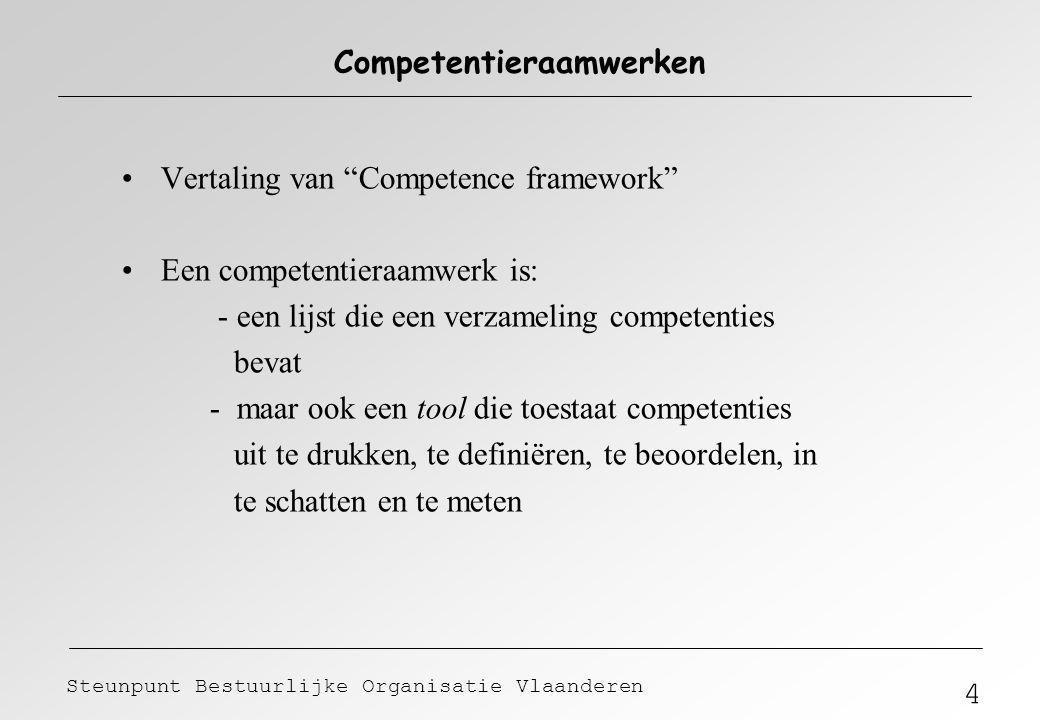 """4 Steunpunt Bestuurlijke Organisatie Vlaanderen Competentieraamwerken Vertaling van """"Competence framework"""" Een competentieraamwerk is: - een lijst die"""