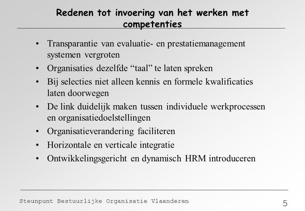 5 Steunpunt Bestuurlijke Organisatie Vlaanderen Redenen tot invoering van het werken met competenties Transparantie van evaluatie- en prestatiemanagem