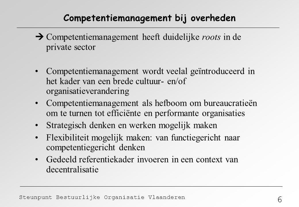 6 Steunpunt Bestuurlijke Organisatie Vlaanderen Competentiemanagement bij overheden  Competentiemanagement heeft duidelijke roots in de private secto