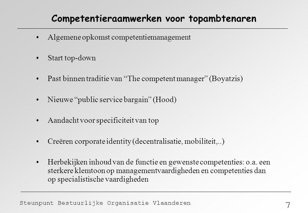 7 Steunpunt Bestuurlijke Organisatie Vlaanderen Competentieraamwerken voor topambtenaren Algemene opkomst competentiemanagement Start top-down Past bi