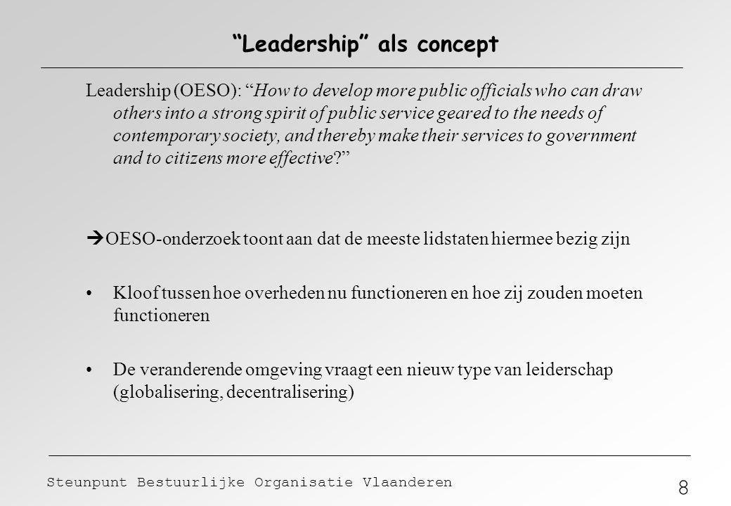 """8 Steunpunt Bestuurlijke Organisatie Vlaanderen """"Leadership"""" als concept Leadership (OESO): """"How to develop more public officials who can draw others"""