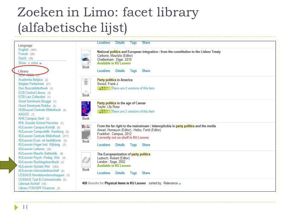 Zoeken in Limo: facet library (alfabetische lijst) 11