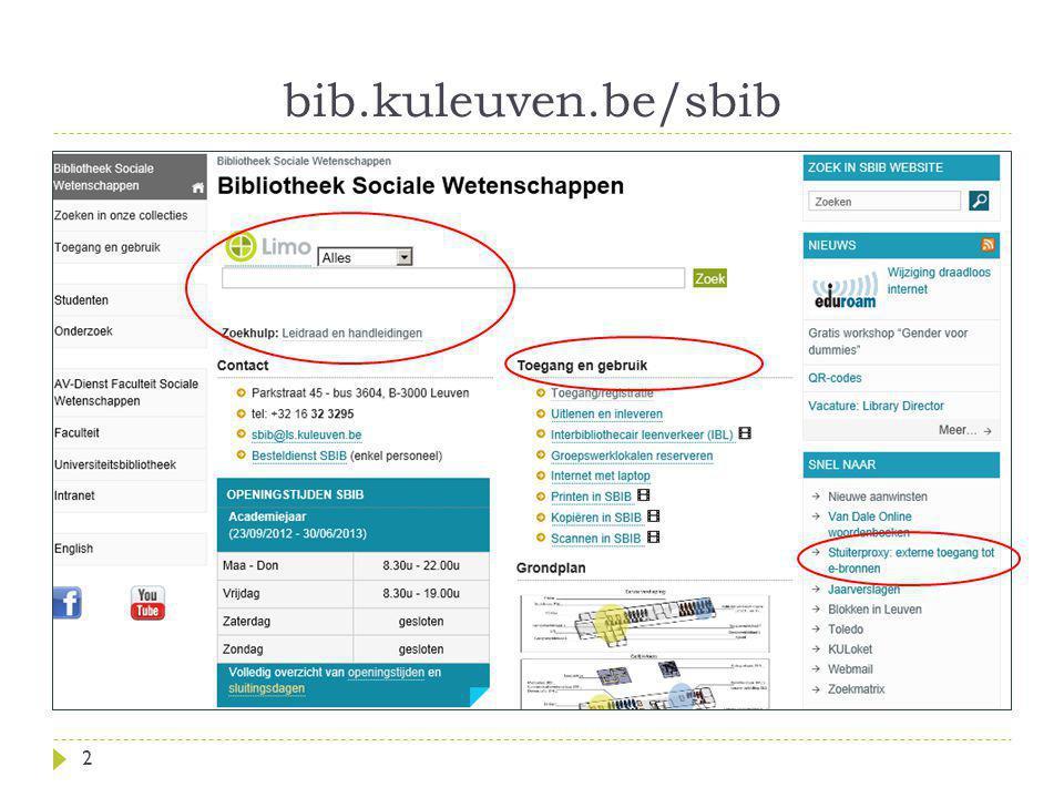 bib.kuleuven.be/sbib 2