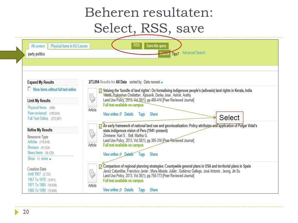 Beheren resultaten: Select, RSS, save 20 Select
