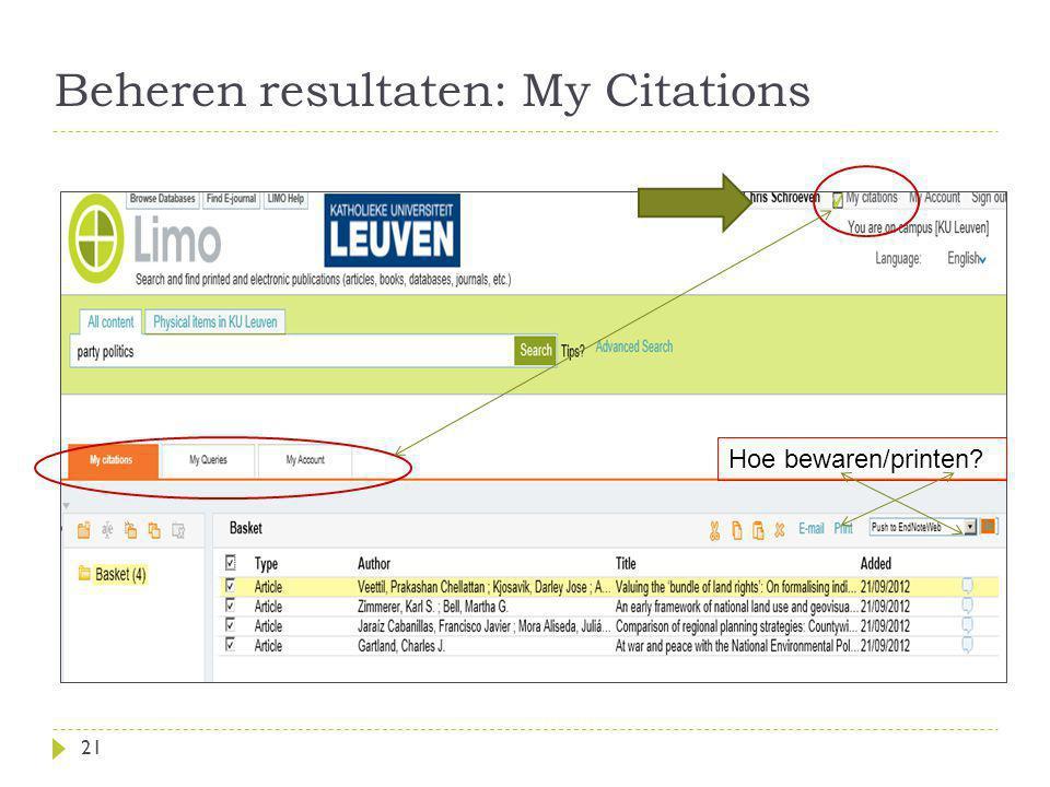 Beheren resultaten: My Citations 21 Hoe bewaren/printen