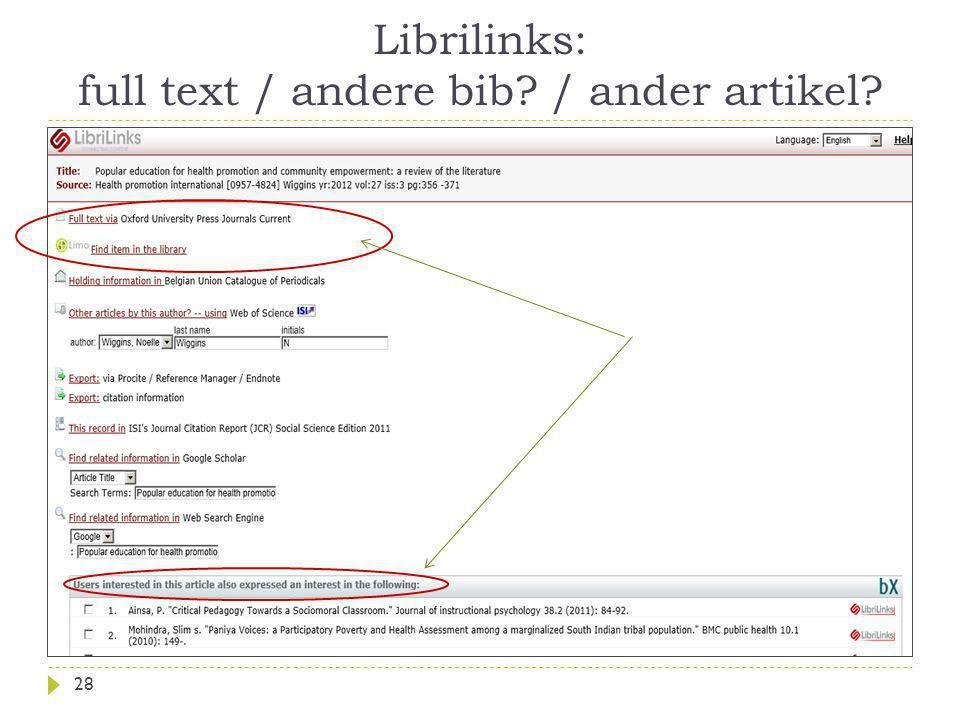 Librilinks: full text / andere bib / ander artikel 28