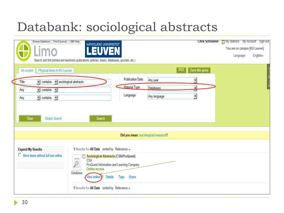 Databank: sociological abstracts 30