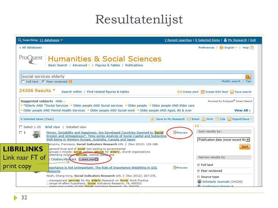 Resultatenlijst 32 LIBRILINKS Link naar FT of print copy