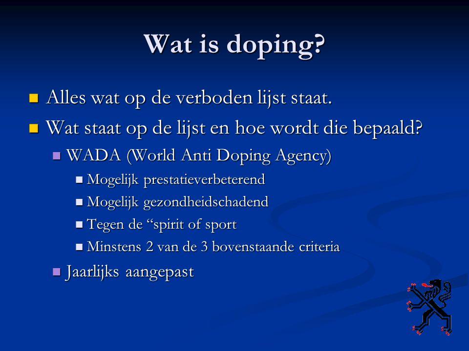 Wat is doping.Alles wat op de verboden lijst staat.