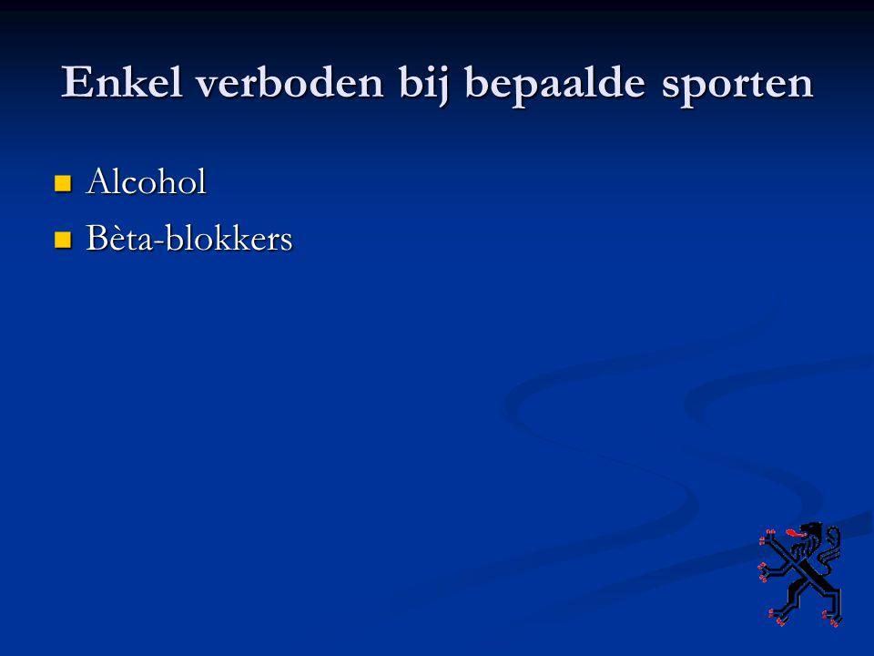 Enkel verboden bij bepaalde sporten Alcohol Alcohol Bèta-blokkers Bèta-blokkers