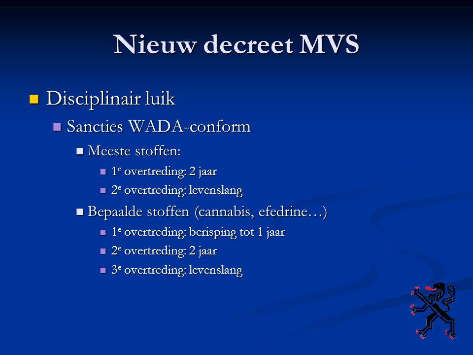 Nieuw decreet MVS Disciplinair luik Disciplinair luik Sancties WADA-conform Sancties WADA-conform Meeste stoffen: Meeste stoffen: 1 e overtreding: 2 j