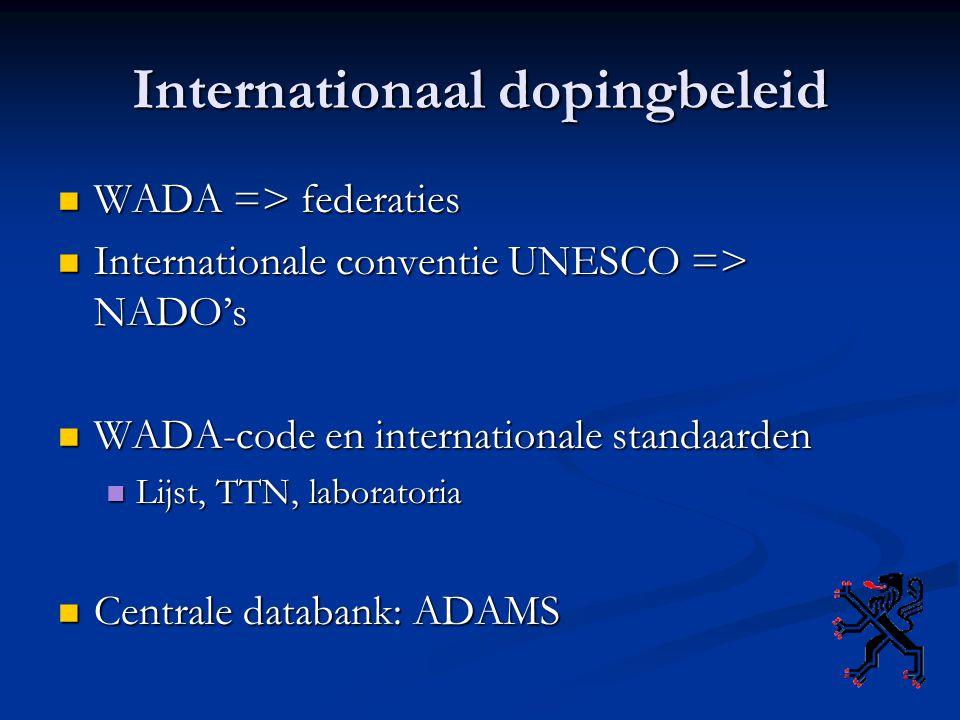 Internationaal dopingbeleid WADA => federaties WADA => federaties Internationale conventie UNESCO => NADO's Internationale conventie UNESCO => NADO's