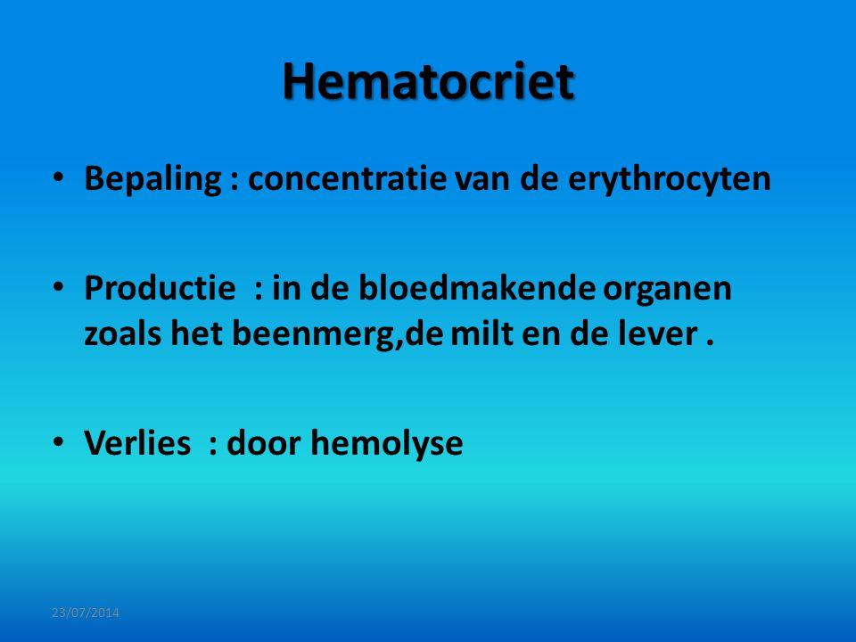 Hematocriet Bepaling : concentratie van de erythrocyten Productie : in de bloedmakende organen zoals het beenmerg,de milt en de lever. Verlies : door
