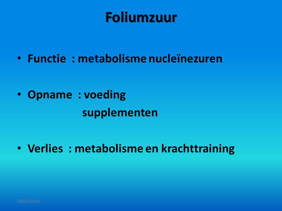 Foliumzuur Functie : metabolisme nucleïnezuren Opname : voeding supplementen Verlies : metabolisme en krachttraining 23/07/2014