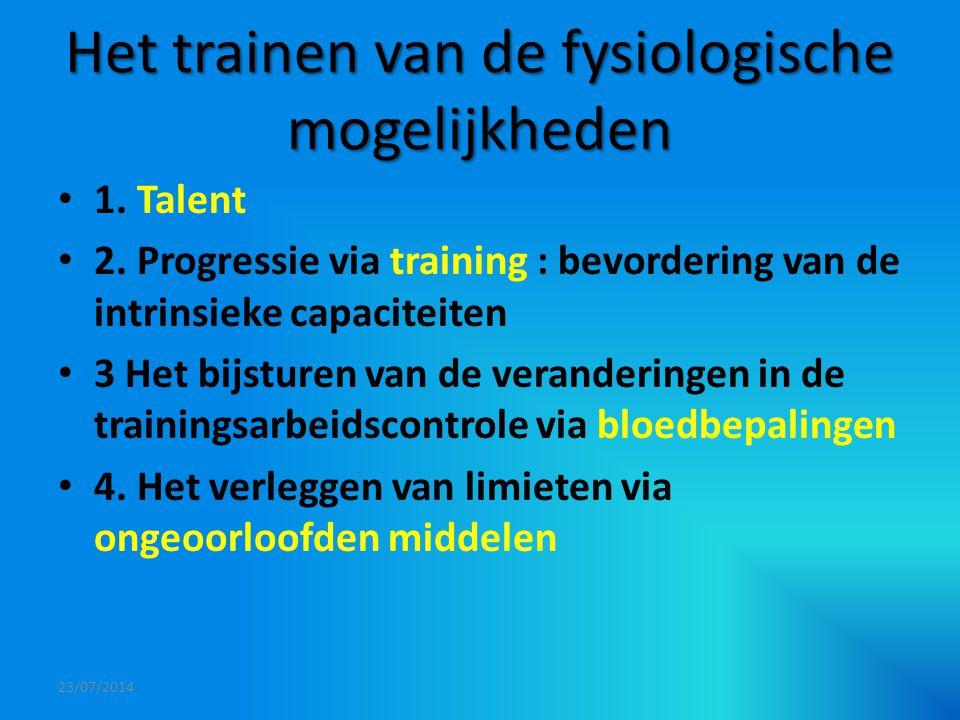 Het trainen van de fysiologische mogelijkheden 1. Talent 2. Progressie via training : bevordering van de intrinsieke capaciteiten 3 Het bijsturen van