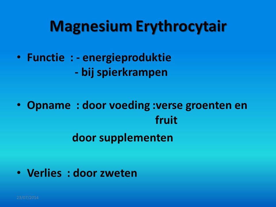 Magnesium Erythrocytair Functie : - energieproduktie - bij spierkrampen Opname : door voeding :verse groenten en fruit door supplementen Verlies : doo