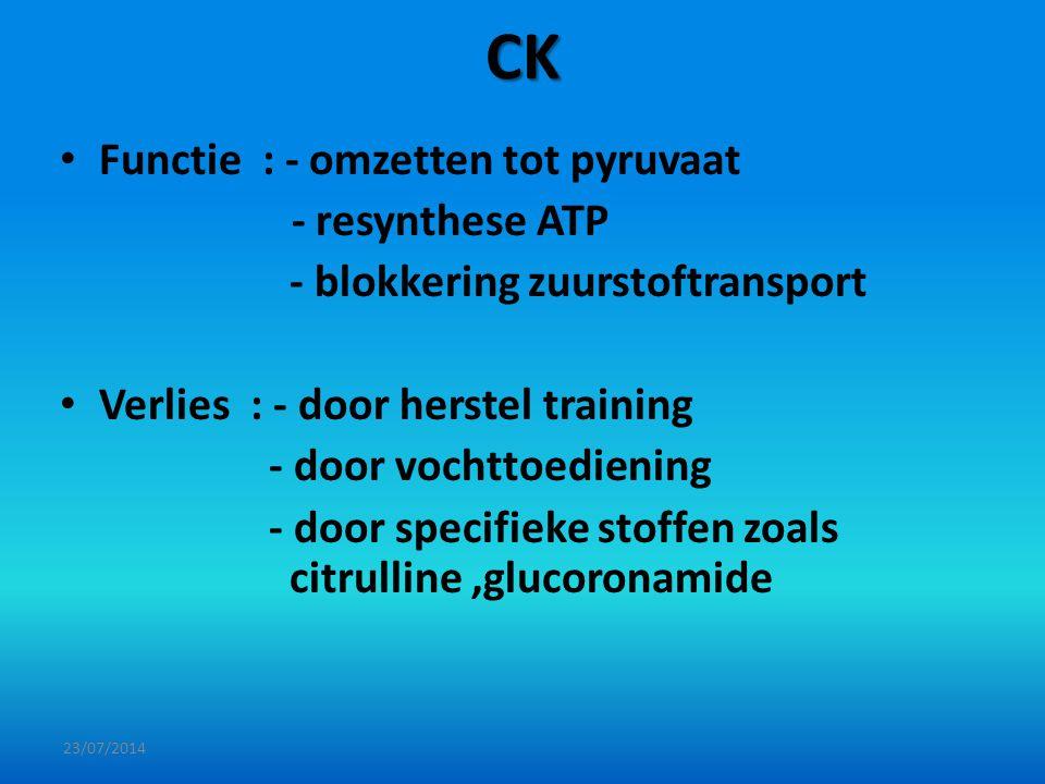 CK Functie : - omzetten tot pyruvaat - resynthese ATP - blokkering zuurstoftransport Verlies : - door herstel training - door vochttoediening - door s