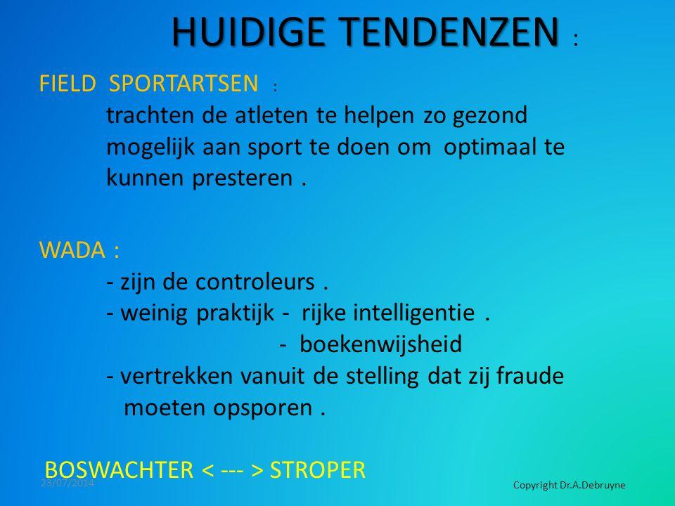 23/07/2014 HUIDIGE TENDENZEN HUIDIGE TENDENZEN : FIELD SPORTARTSEN : trachten de atleten te helpen zo gezond mogelijk aan sport te doen om optimaal te