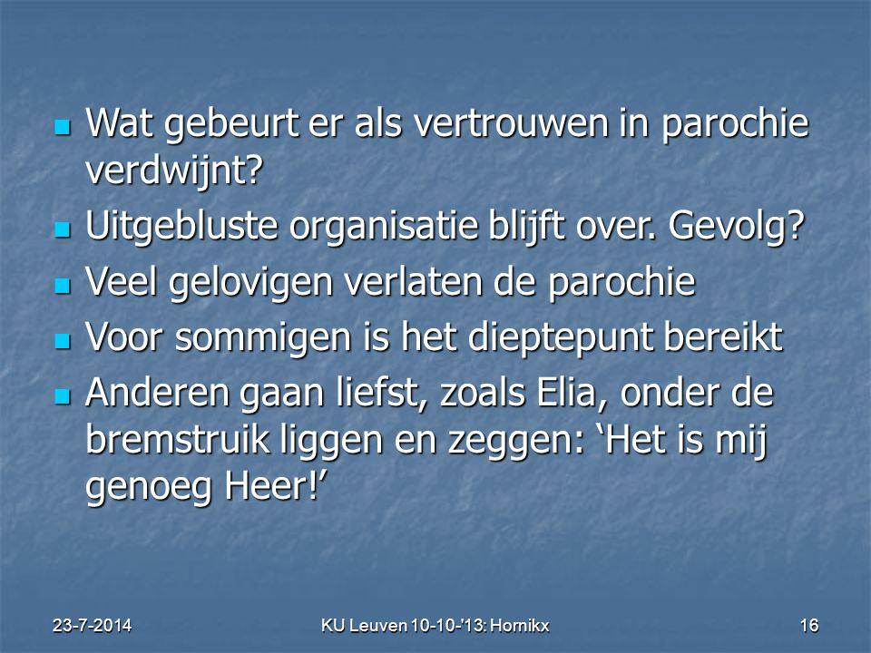 23-7-2014KU Leuven 10-10- 13: Hornikx 16 Wat gebeurt er als vertrouwen in parochie verdwijnt.