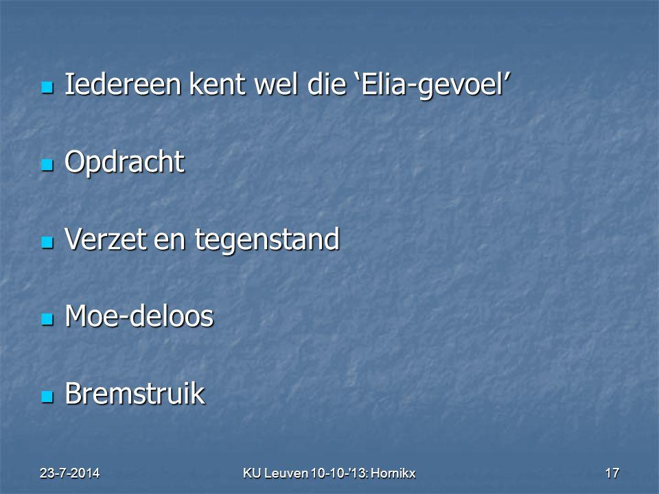 23-7-2014KU Leuven 10-10- 13: Hornikx 17 Iedereen kent wel die 'Elia-gevoel' Iedereen kent wel die 'Elia-gevoel' Opdracht Opdracht Verzet en tegenstand Verzet en tegenstand Moe-deloos Moe-deloos Bremstruik Bremstruik