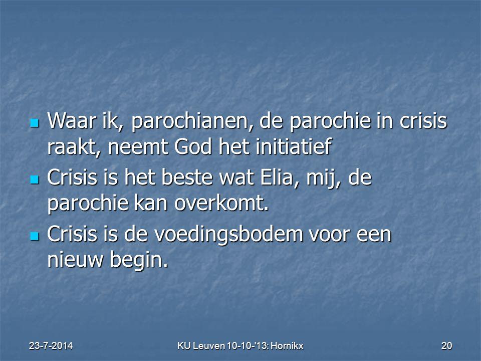 23-7-2014KU Leuven 10-10- 13: Hornikx 20 Waar ik, parochianen, de parochie in crisis raakt, neemt God het initiatief Waar ik, parochianen, de parochie in crisis raakt, neemt God het initiatief Crisis is het beste wat Elia, mij, de parochie kan overkomt.