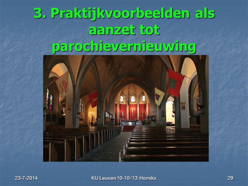 23-7-2014KU Leuven 10-10- 13: Hornikx 29 3. Praktijkvoorbeelden als aanzet tot parochievernieuwing