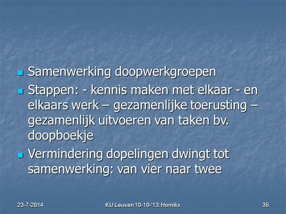 23-7-2014KU Leuven 10-10- 13: Hornikx 35 Samenwerking doopwerkgroepen Samenwerking doopwerkgroepen Stappen: - kennis maken met elkaar - en elkaars werk – gezamenlijke toerusting – gezamenlijk uitvoeren van taken bv.