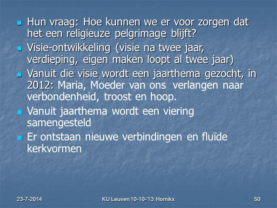 23-7-2014KU Leuven 10-10- 13: Hornikx 50 Hun vraag: Hoe kunnen we er voor zorgen dat het een religieuze pelgrimage blijft.