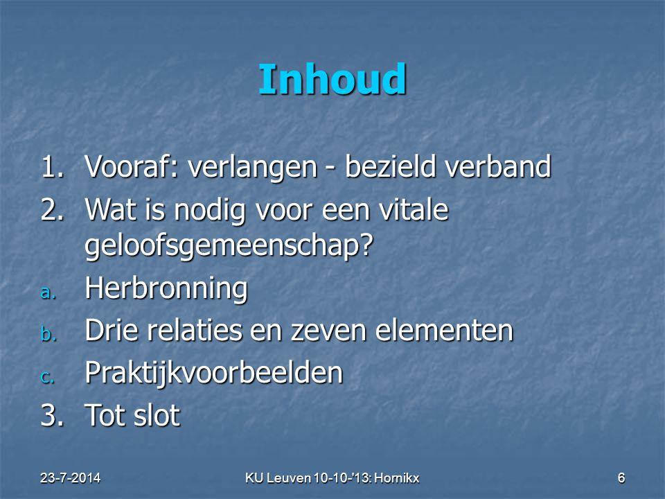 23-7-2014KU Leuven 10-10- 13: Hornikx 6 Inhoud 1.Vooraf: verlangen - bezield verband 2.
