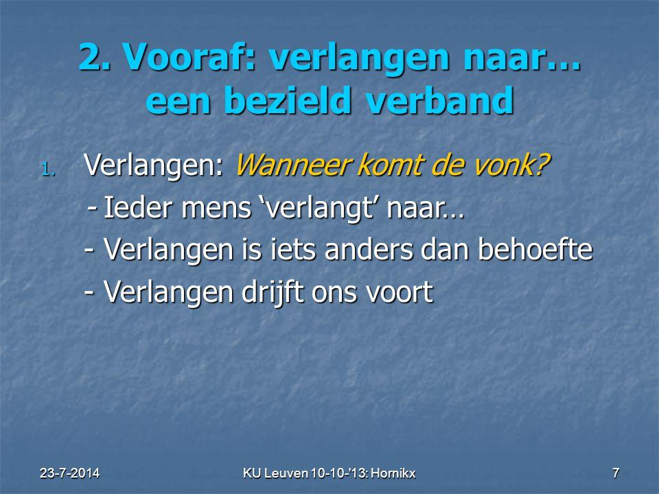 23-7-2014KU Leuven 10-10- 13: Hornikx 7 2.Vooraf: verlangen naar… een bezield verband 1.
