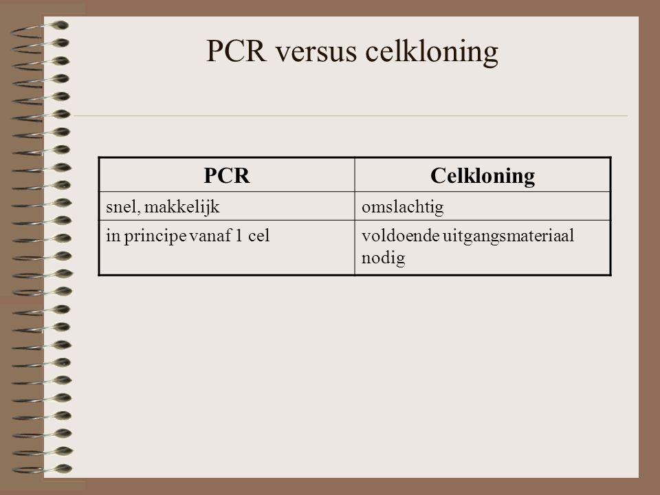PCR versus celkloning PCRCelkloning snel, makkelijkomslachtig in principe vanaf 1 celvoldoende uitgangsmateriaal nodig