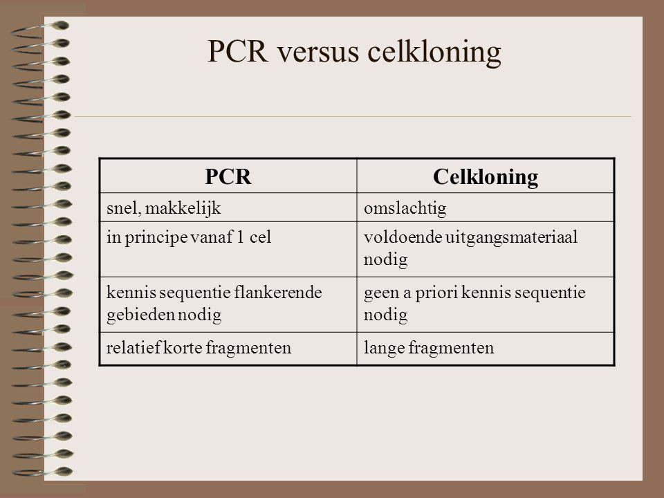 PCR versus celkloning PCRCelkloning snel, makkelijkomslachtig in principe vanaf 1 celvoldoende uitgangsmateriaal nodig kennis sequentie flankerende gebieden nodig geen a priori kennis sequentie nodig relatief korte fragmentenlange fragmenten