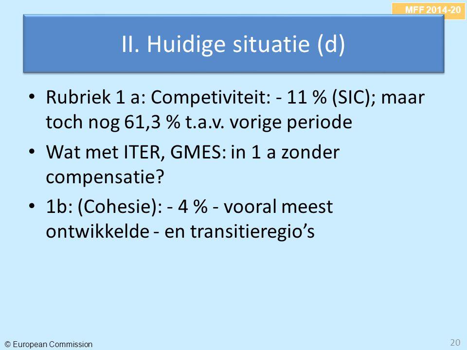 MFF 2014-20 © European Commission 20 II. Huidige situatie (d) Rubriek 1 a: Competiviteit: - 11 % (SIC); maar toch nog 61,3 % t.a.v. vorige periode Wat