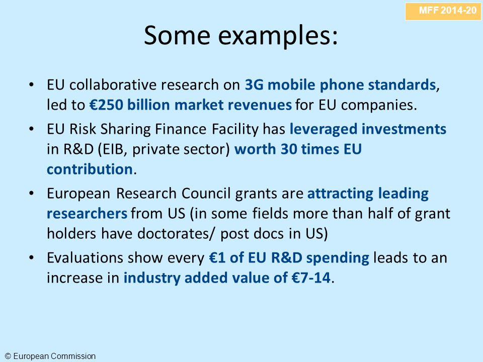 MFF 2014-20 © European Commission Some examples: EU collaborative research on 3G mobile phone standards, led to €250 billion market revenues for EU co