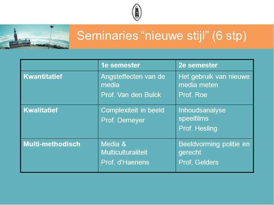 Seminaries nieuwe stijl (6 stp) 1e semester2e semester KwantitatiefAngsteffecten van de media Prof.