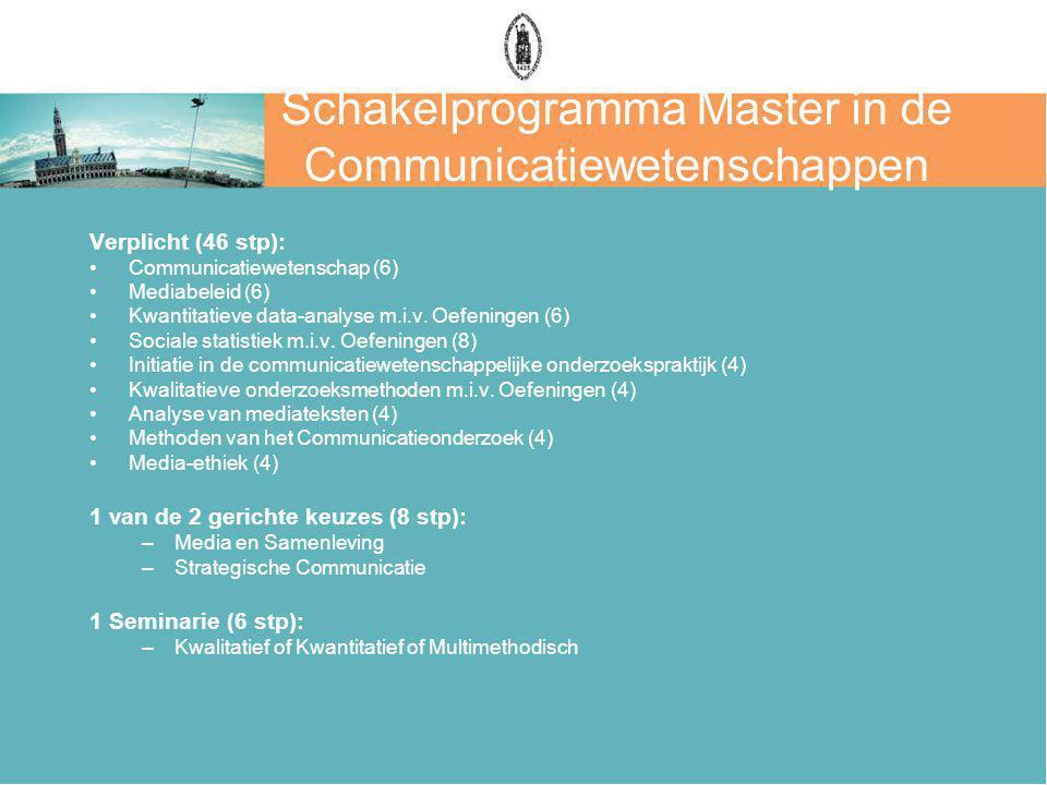 Schakelprogramma Master in de Communicatiewetenschappen Verplicht (46 stp): Communicatiewetenschap (6) Mediabeleid (6) Kwantitatieve data-analyse m.i.v.