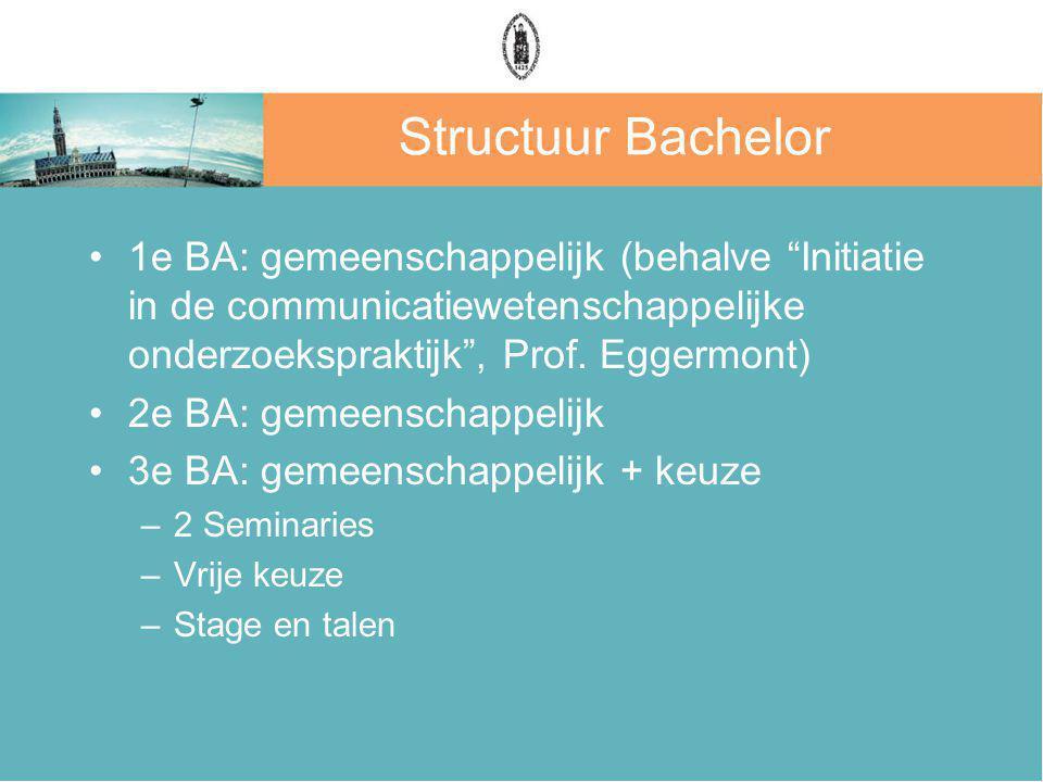 Structuur Bachelor 1e BA: gemeenschappelijk (behalve Initiatie in de communicatiewetenschappelijke onderzoekspraktijk , Prof.
