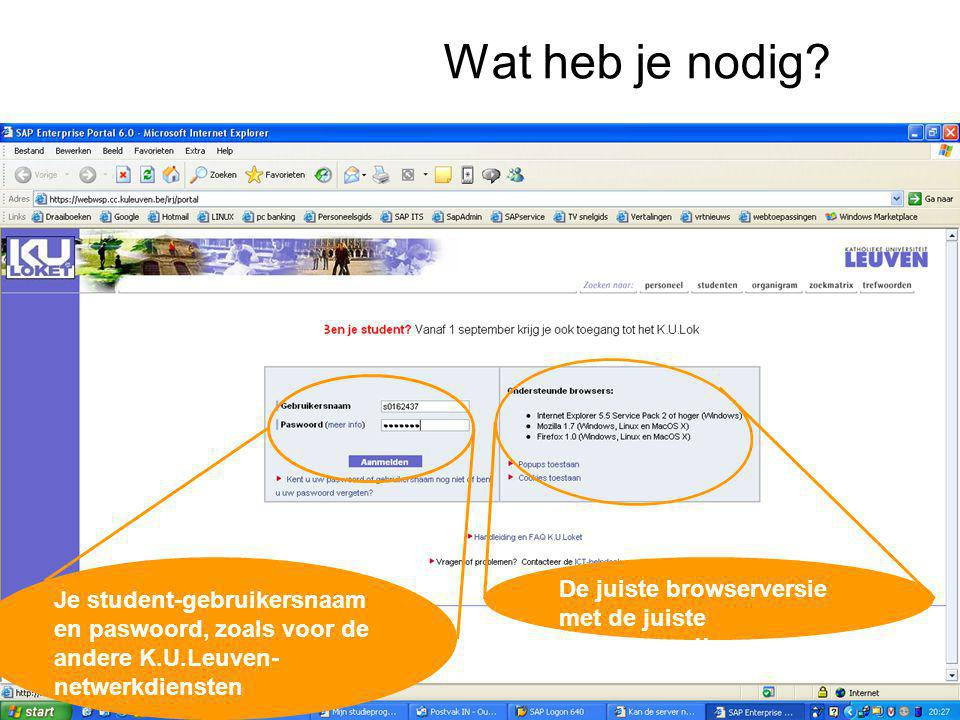 Wat heb je nodig.De juiste browserversie met de juiste instellingen!.