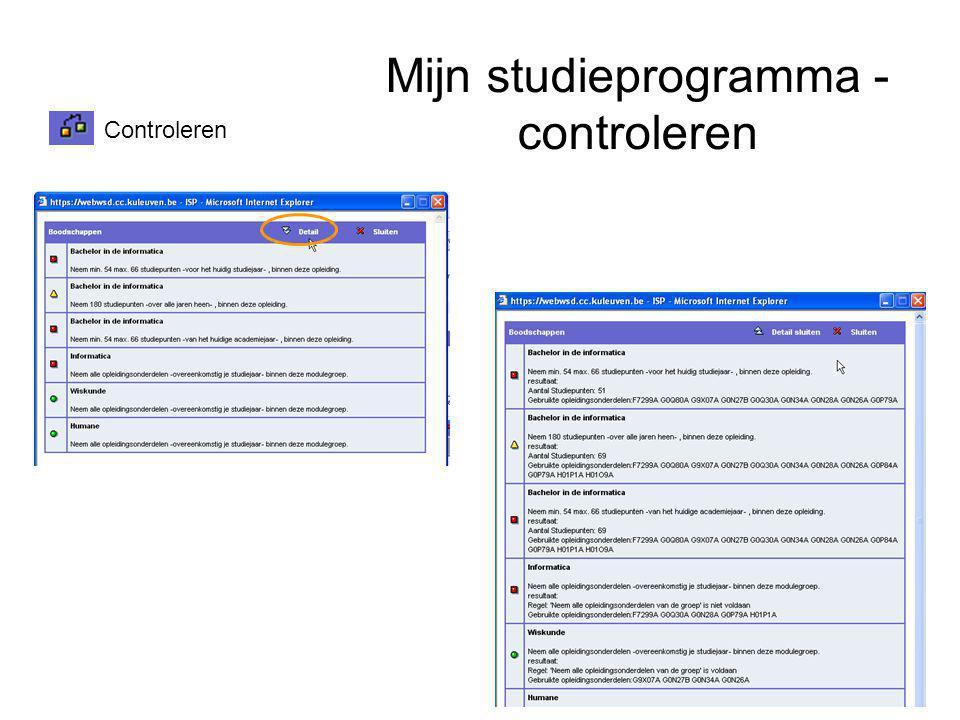 Mijn studieprogramma - controleren Controleren