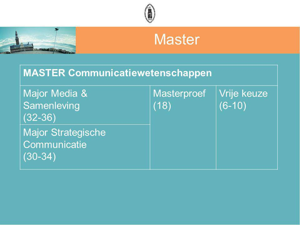 Master MASTER Communicatiewetenschappen Major Media & Samenleving (32-36) Masterproef (18) Vrije keuze (6-10) Major Strategische Communicatie (30-34)