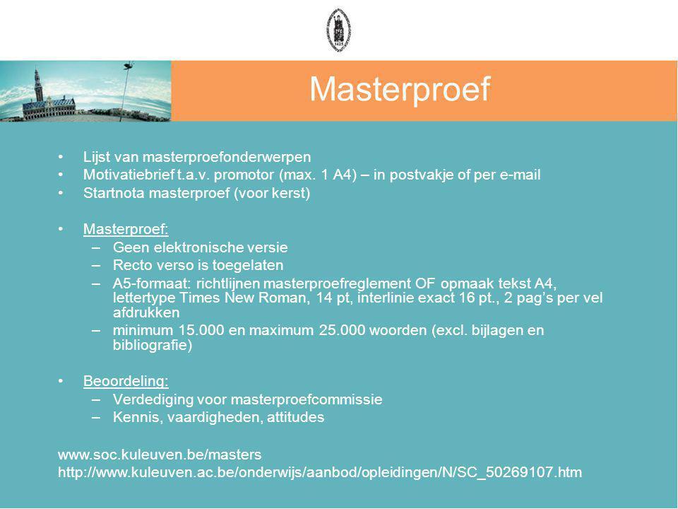 Masterproef Lijst van masterproefonderwerpen Motivatiebrief t.a.v.
