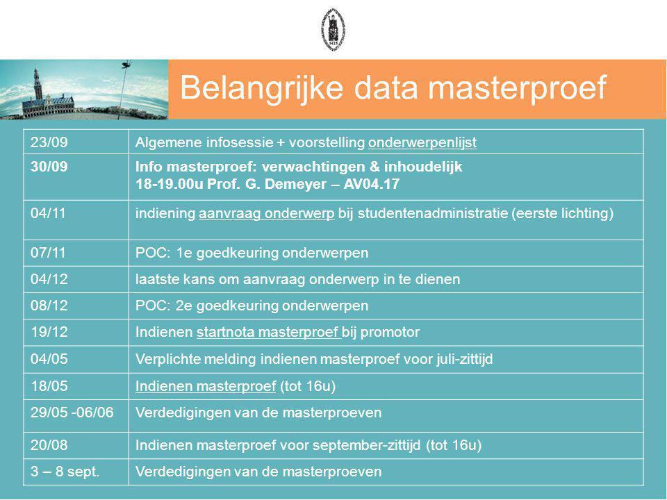 Belangrijke data masterproef 23/09Algemene infosessie + voorstelling onderwerpenlijst 30/09Info masterproef: verwachtingen & inhoudelijk 18-19.00u Prof.