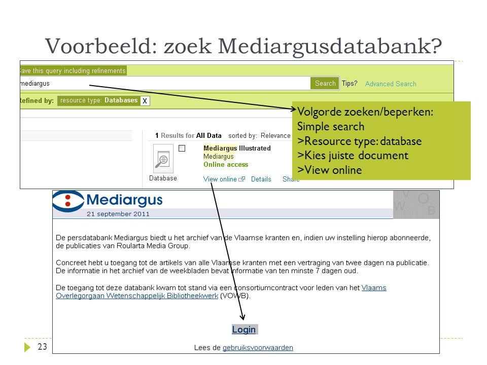 Voorbeeld: zoek Mediargusdatabank.