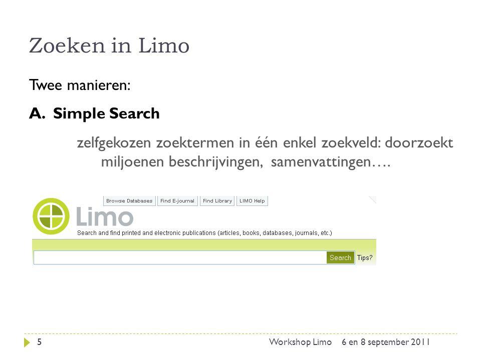 Zoeken in Limo: vrij zoeken 6 A.