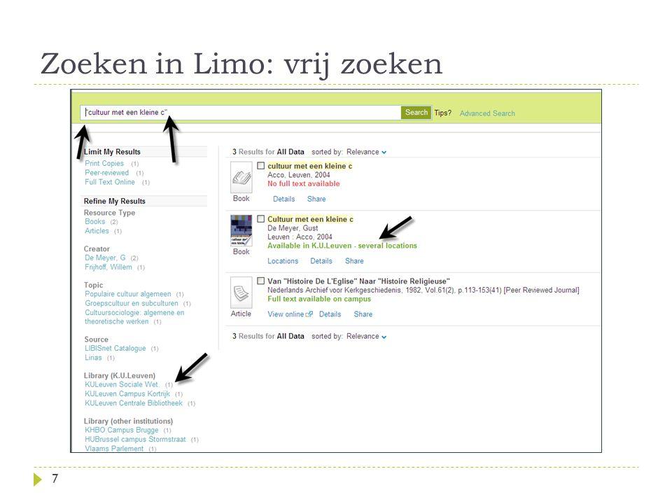 Zoeken in Limo: vrij zoeken 7