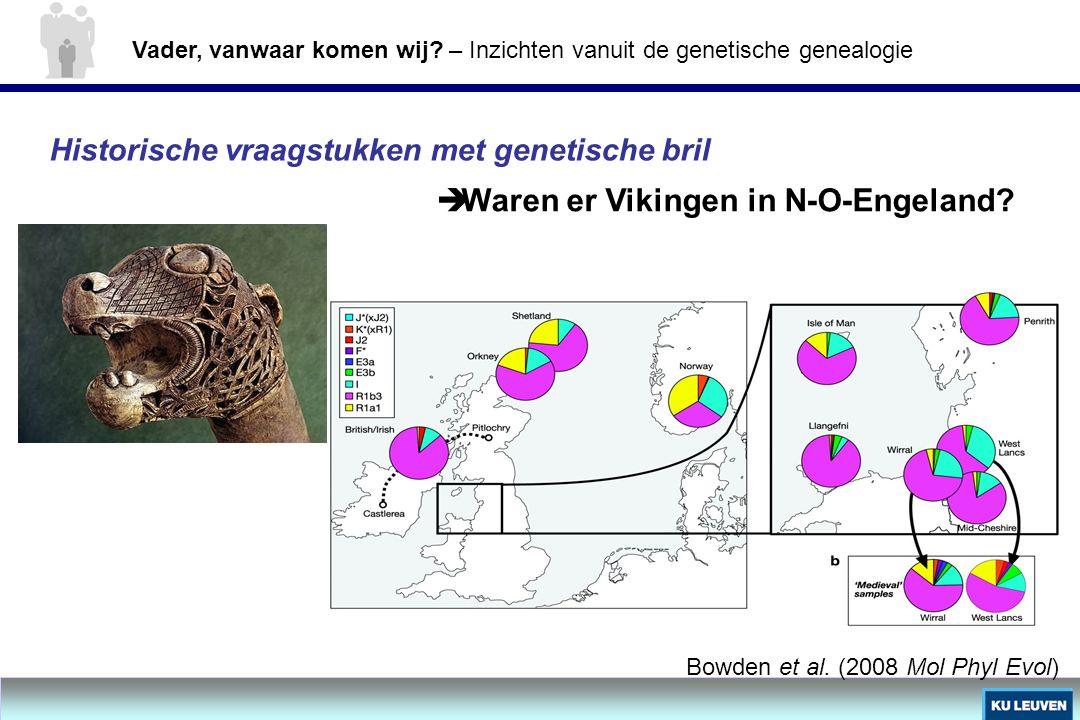 Historische vraagstukken met genetische bril  Waren er Vikingen in N-O-Engeland? Bowden et al. (2008 Mol Phyl Evol) Vader, vanwaar komen wij? – Inzic