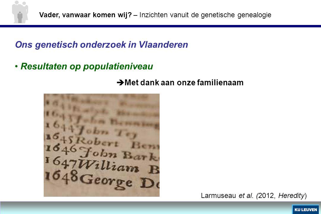 Ons genetisch onderzoek in Vlaanderen Resultaten op populatieniveau Larmuseau et al. (2012, Heredity)  Met dank aan onze familienaam Vader, vanwaar k