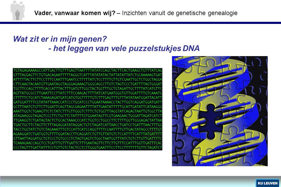 Wat zit er in mijn genen? - het leggen van vele puzzelstukjes DNA Vader, vanwaar komen wij? – Inzichten vanuit de genetische genealogie