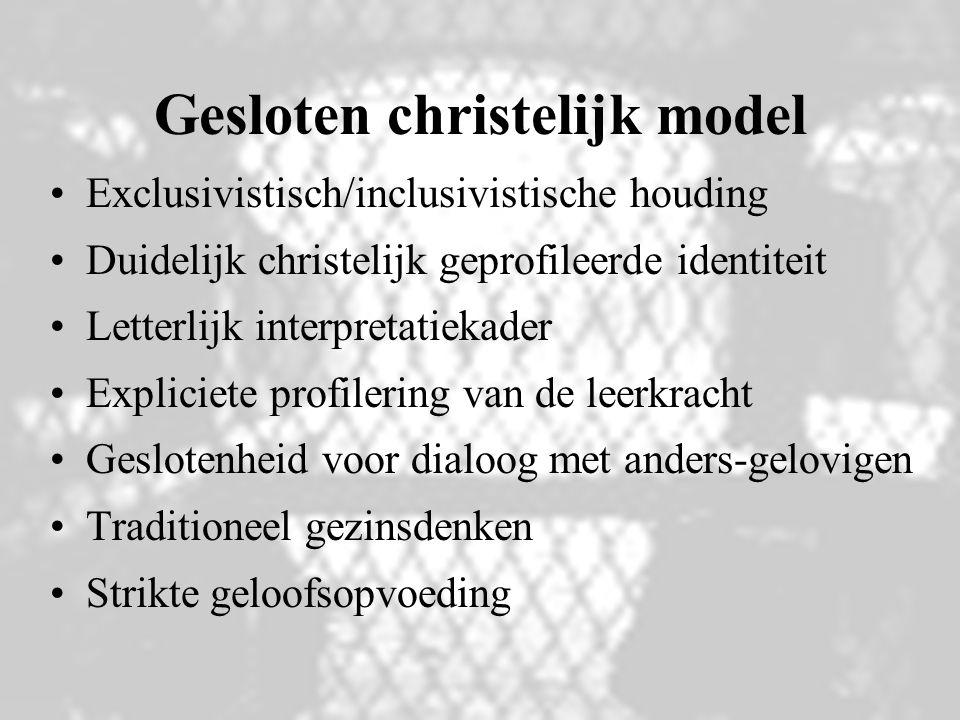 Gesloten christelijk model Exclusivistisch/inclusivistische houding Duidelijk christelijk geprofileerde identiteit Letterlijk interpretatiekader Expli