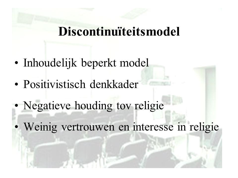Discontinuïteitsmodel Inhoudelijk beperkt model Positivistisch denkkader Negatieve houding tov religie Weinig vertrouwen en interesse in religie